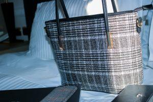 Picture of check print handbag