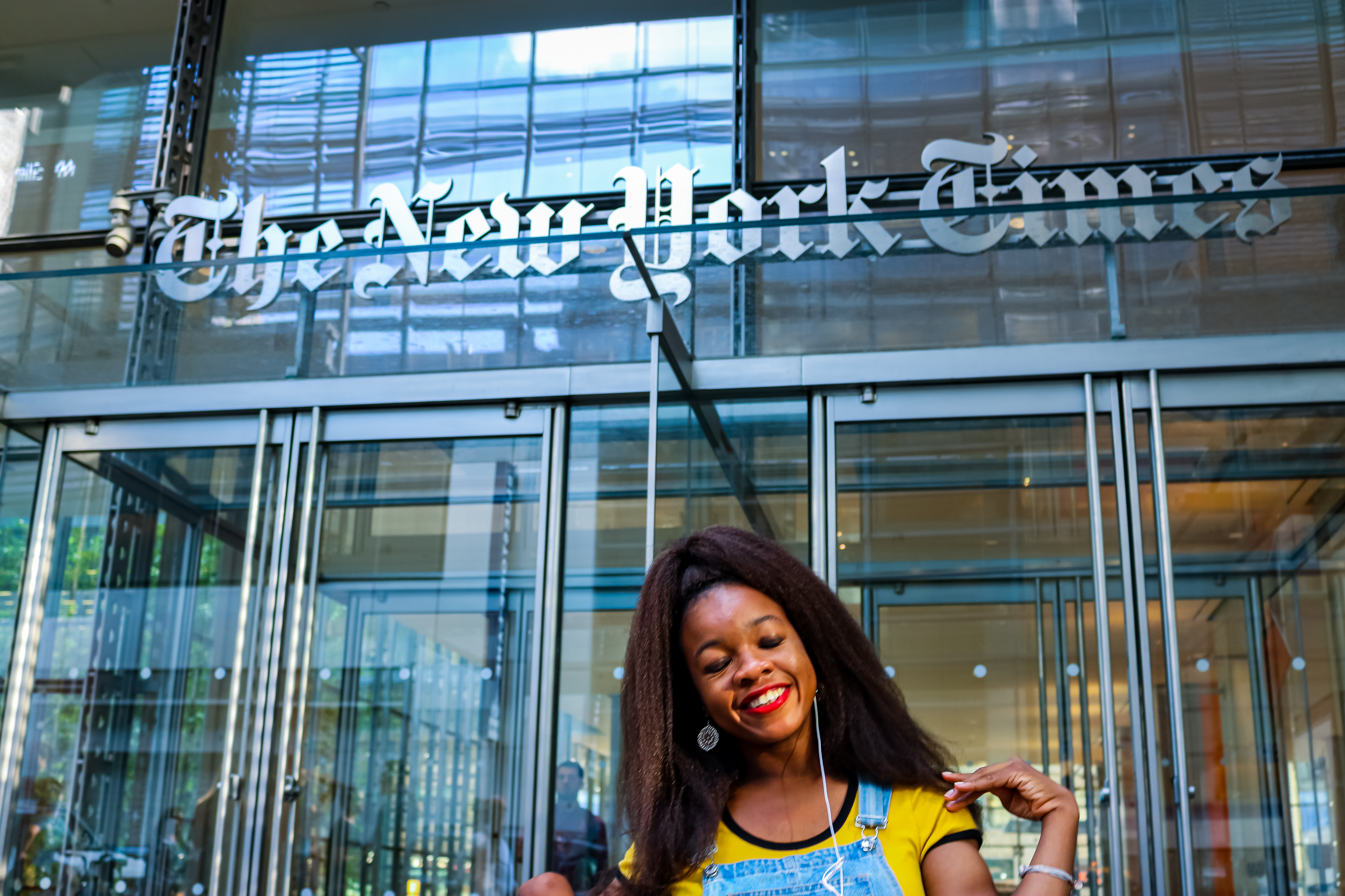 Rachy in front of New York Times building