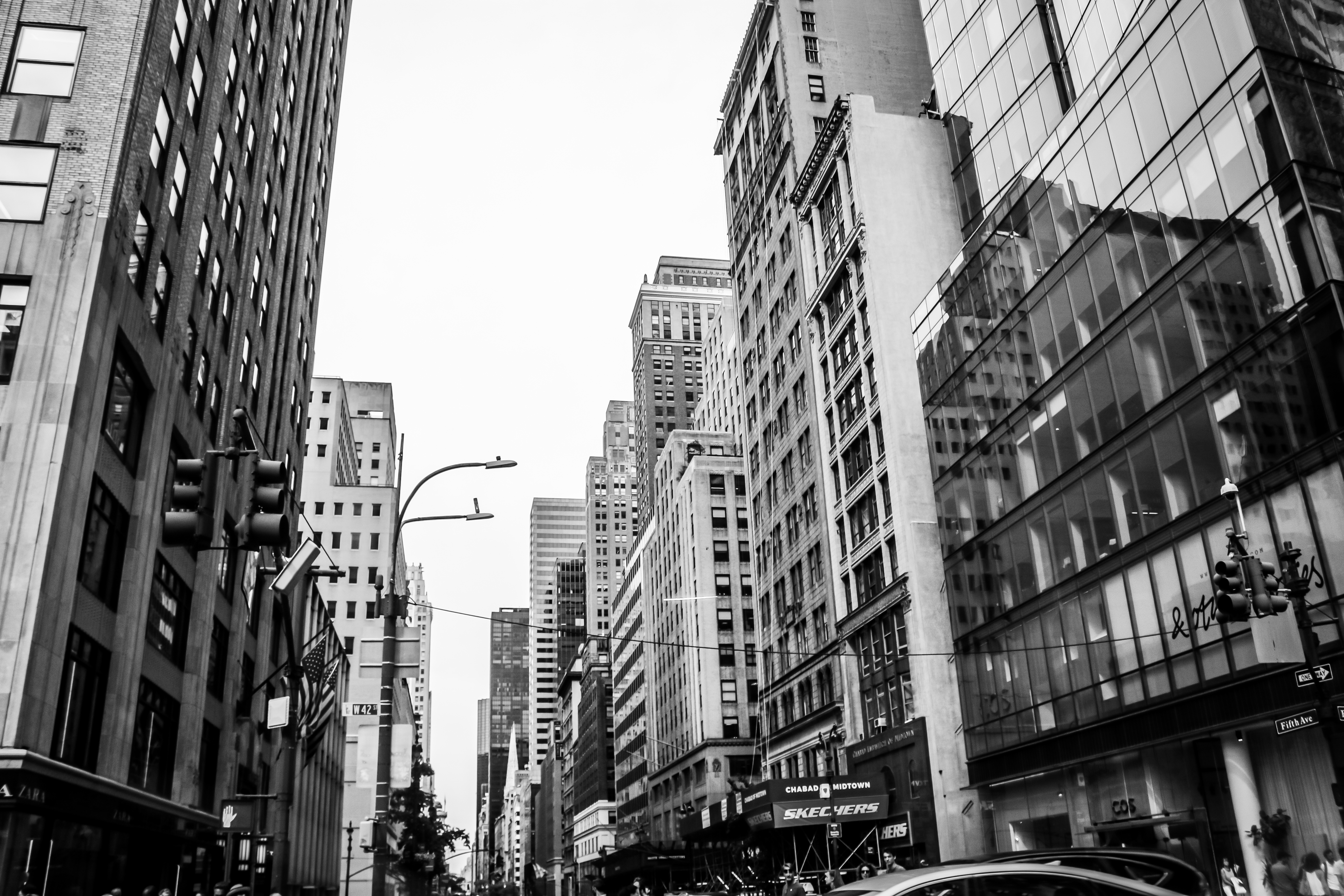 black and white photo of buildings in NYC