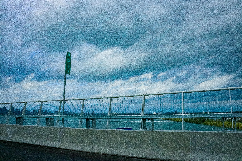 Driving by a bridge
