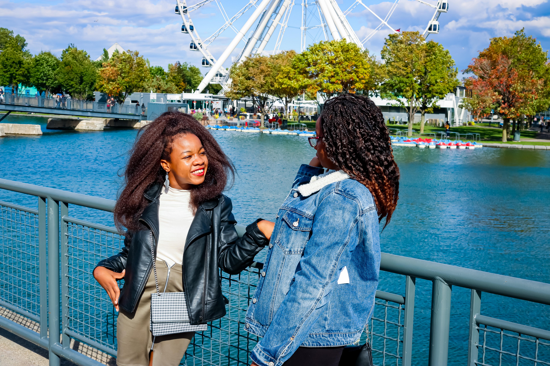 Rachy and sister in front of La Grande Roue de Montréal