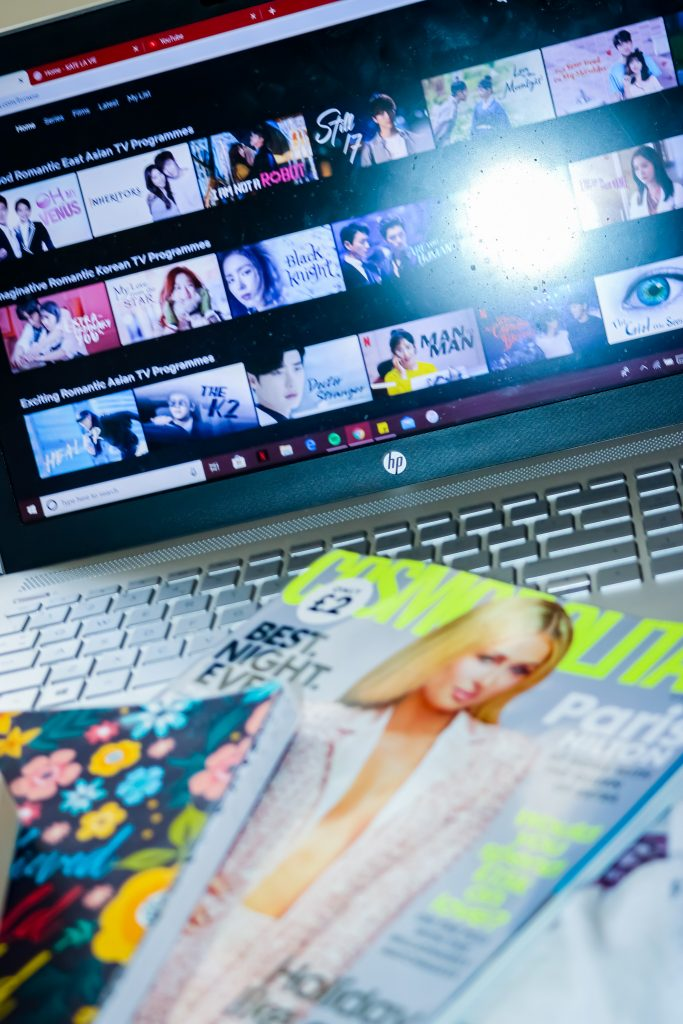 laptop and magazine